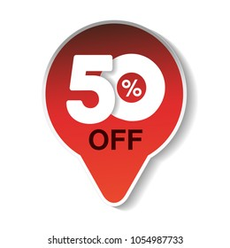 Vector special sale offer. Red tag 50% off. Discount offer price label. Arrow sticker of 50% off.