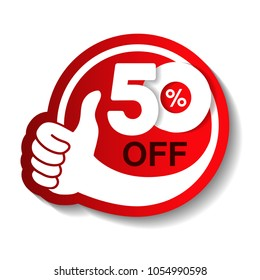 Vector special sale offer. Red tag with best choice. Discount offer price label with hand gesture. Sticker of 50% off.