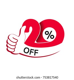 Vector special sale offer. Red tag with best choice. Discount offer price label with hand gesture. Sticker of 20% off.