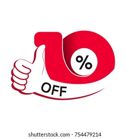 Vector special sale offer. Red tag with best choice. Discount offer price label with hand gesture. Sticker of 10% off.