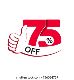 Vector special sale offer. Red tag with best choice. Discount offer price label with hand gesture. Sticker of 75% off.
