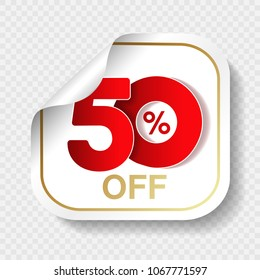 Vector special sale offer. White tag with red 50% off. Discount offer price label. Square sticker, coupon.