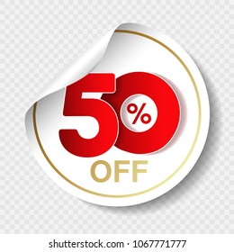 Vector special sale offer. White tag with red 50% off. Discount offer price label. Circular sticker, coupon.