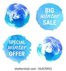 Vector special winter offer, big winter sale labels and shapes on white background. Hand drawn watercolor blue stains set.