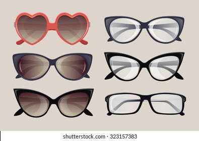 Vector. Spectacles and sunglasses