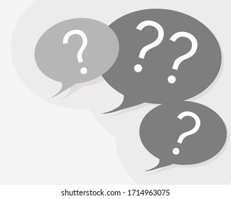 Vector of speech bobbles with question mark inside