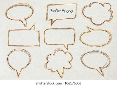 Vector Speech bubble collection, on old Paper texture background
