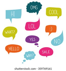 Vector speech bubble colorful set