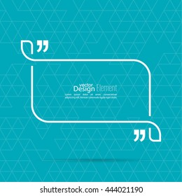 Vector speech bubble with quotation mark. Quote sign icon.