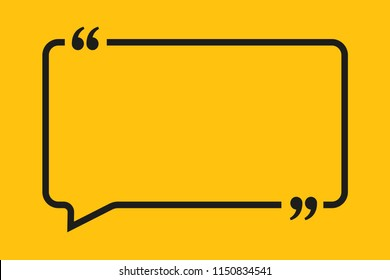 Vector Speech Bubble Quote Blank Template. Empty Qoute Template. Business Card Template, Information, Text. Bracket. Sending, Direct Speech. Quotes. Speech Qoute Object.