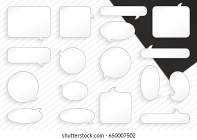 Vector speech bubbles, frames for dialog with example of text inside. Vector comic frames for text.