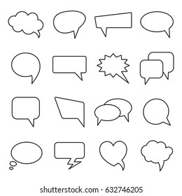 Vector speech bubbles in line design. Communication bubbles icons. Dialog balloons for web and graphic design.