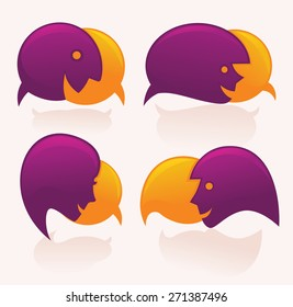 vector speech bubbles look like a head and face