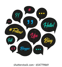 Vector speech bubbles with phrases Blog, Blogger. Hand drawn speech bubbles, blog label in grunge style with hashtag. Social media icons set.