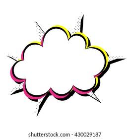 Vector speech cloud with explosion. Pop art style.