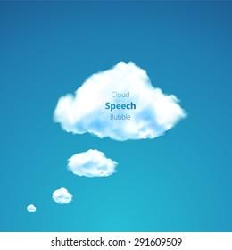 Vector speech cloud on blue sky