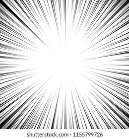vector speed background. comic manga illustration with lines. abstract action black and white drawing. radial speed cartoon. motion line background