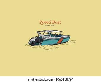 Vector speed boat, hand draw vector.