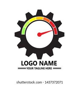 Vector Speed Gear Logo design. Vector speedometer car on gear wheel icon template design. Gear speed logo template. Vector illustration