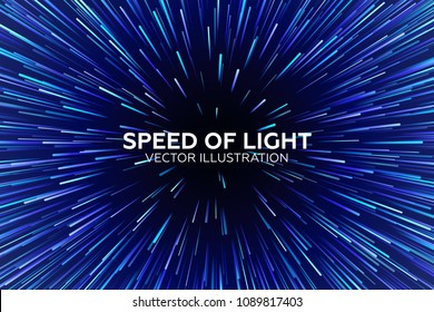 Vector speed of light illustraction. Space and stars on dark background