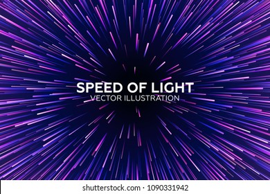 Vector speed of light illustraction. Space and stars on dark background. Text plaseholder. Beautiful magic backtdrop for your poster or web design.