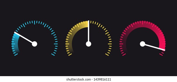 Vector speedometer Icon. Internet Speed. Speed, power and  fuel gauge meter stages. Symbol of speed