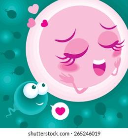 Vector of sperm meet ovum
