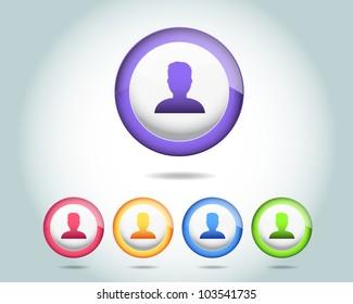 Vector Sphere Person Icon Button