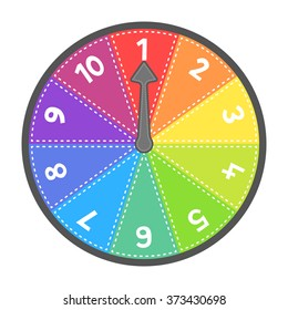 Vector Spin Wheel Game with Numbers 1-10