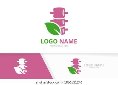 Vector spine and leaf logo combination. Unique spinal diagnostic center logotype design template.