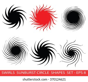 Vector Spiral Logo Design ideas collection. Swirls and Sunburn radial symbols. Orient Red Sun or Black Hole Icon collection. Whirlpool design elements . Swirly circle shapes vector clip art. Eps 8.