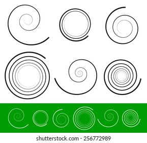 Vector spiral set with 6 different version. Abstract Tendril, Bine, Volute, Helix set. Vector ornament, decoration element set.