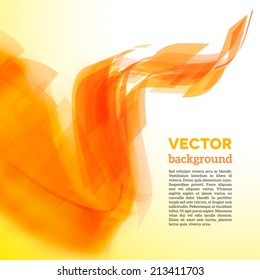 Vector spiral of yellow and orange lines with blurred edge