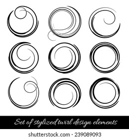Vector spirals design elements set