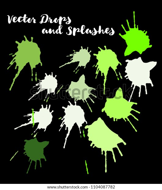 Vector Splashes, Hand Painted Watercolor Splatter. Indian Holi Color Festival, Paint Burst, Water Splash. Green Holi Paint Splats, Vector Hand Painted Doodle. Funky Texture Graffiti Smears, Button.