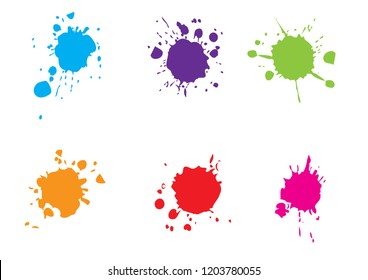 vector splatter color paint . paint splashes set.vector illustration.