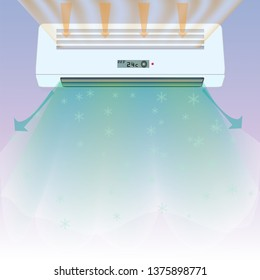 vector of split ac and it's fresh waving air with blueish background and sucking air