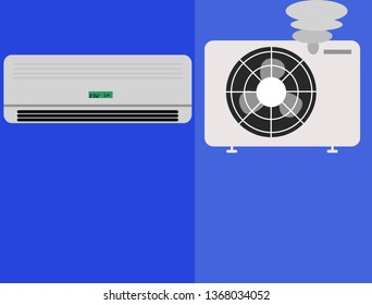 vector of split ac and it's smoking or burning compressor cause of over hot temperature with blue background