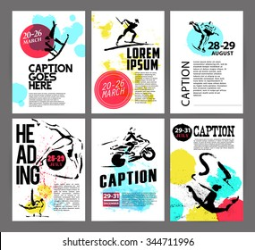 Vector sport advertising template with hand drawn athlete silhouette and date. Ink drawing. Biathlon, skating, motorcycling icons. Leaflet, poster, placard, card design sample. Logo, print design.