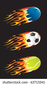 Vector sport balls in fire 03