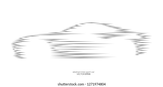 Vector sport car shape by movement line pattern isolated on white background. For design element in concept automotive technology, electric car, self driving car