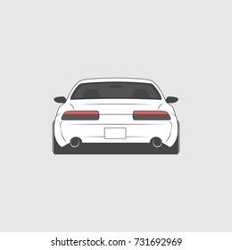Vector sport car. Car sketch. Back view.