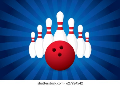 Vector of sport design template with red bowling ball and skittles.