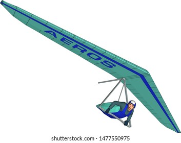 Vector. Sport. Hang glider flying on a hang glider in special equipment. Active rest. Extreme sport.