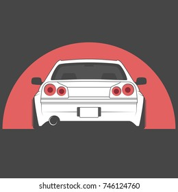 Vector Sport Japan Car On Red Sun Background. Car Sketch. Back View.