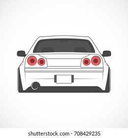 Vector sport japan car. Car sketch. Back view.