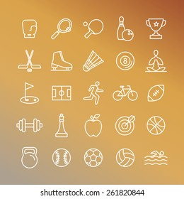 Vector sport linear icons - set of signs and symbols related to team games and healthy lifestyle