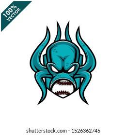 Vector sport logo, kraken octopus head illustration and baseball ball on the shield background. Logo for sport club or team. Vector illustration