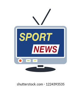 vector sport news icon. Flat illustration of media news. sports news isolated on white background. sport sign symbol - breaking news icon