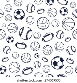 Vector Sports Balls Black and White Seamless Background